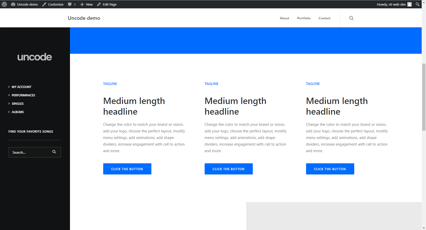 Uncode theme Offer both a vertical and a horizontal menu   Roshem ...